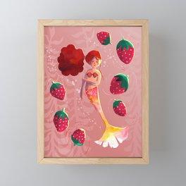 Strawberry Mermaid Framed Mini Art Print