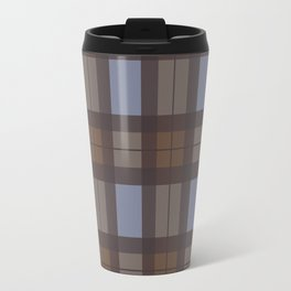 Brown and Blue Tartan Travel Mug