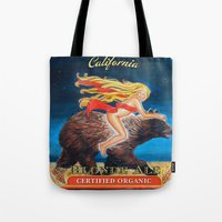 ale giorgini Tote Bags featuring Ride Naked California Blonde Ale  by Ashley Bell