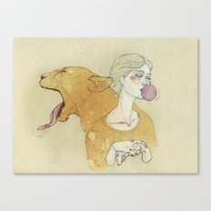 The lady and the lion. Canvas Print