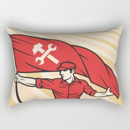 worker holding a flag - industry poster (design for labor day) Rectangular Pillow