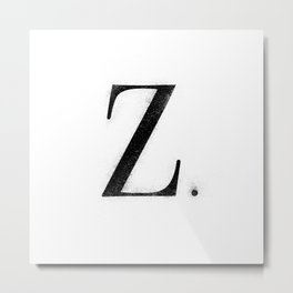 Z. - Distressed Initial Metal Print