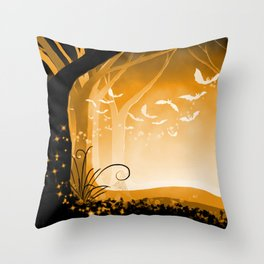 Dark Forest at Dawn in Amber Throw Pillow