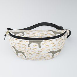 Big Grey Weimaraner Dog and Yellow Paw Prints Fanny Pack