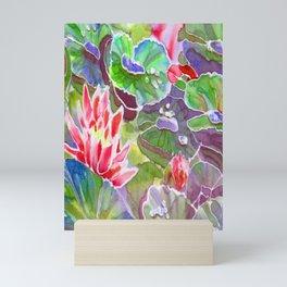 original silk painting of water lilies Mini Art Print