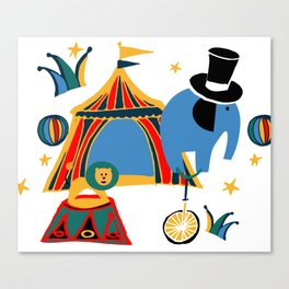 Circus Fun white Canvas Print