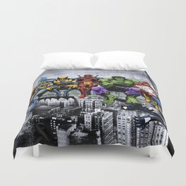 Superhero Lunch Atop A Skyscraper Duvet Cover