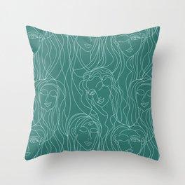 Green Ladies Throw Pillow