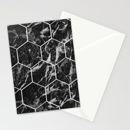 Black Campari marble - hexagons Stationery Cards