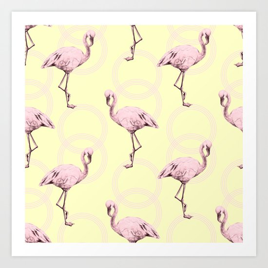 Simply Pink Flamingo Infinity Link Pale Yellow Art Print