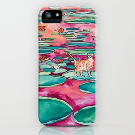 Ginger Cat amongst the Lily Pads on a Pink Lake iPhone Case