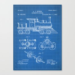 Train Locomotive Patent - Steam Train Art - Blueprint Canvas Print