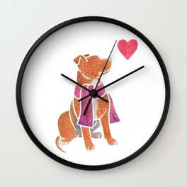 Watercolour Pit Bull Wall Clock