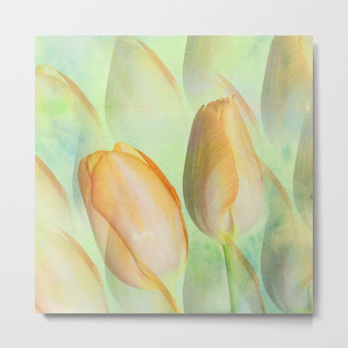 Water colour Spring Tulips Metal Print