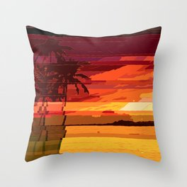 Tropical Glitchset Throw Pillow