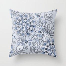 Mandalas and flowers Throw Pillow