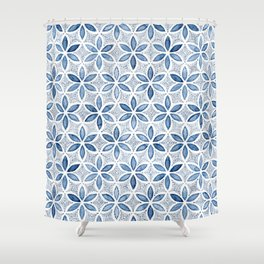 Indigo Retro Flower Shower Curtain