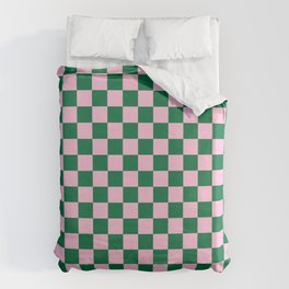 Cotton Candy Pink and Cadmium Green Checkerboard Bettbezug