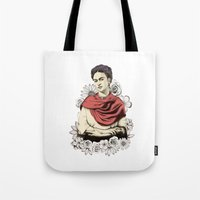 frida kahlo Tote Bags featuring Frida Kahlo by Juan Rodriguez Cuberes