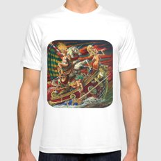Party Boat to Atlantis MEDIUM Mens Fitted Tee White