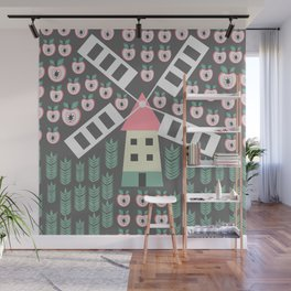Windmill, apples and grains Wall Mural