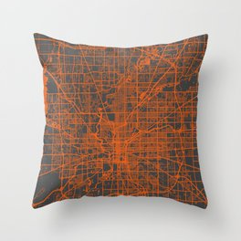 Indianapolis map orange Throw Pillow