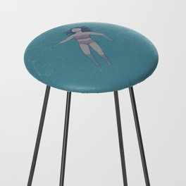Girl Floating in the Ocean Counter Stool