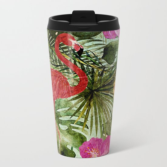 Tropical Vintage Exotic Jungle- Floral and Flamingo watercolor pattern on #Society6 Metal Travel Mug