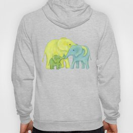 Elephant Family of Three in Yellow, Blue and Green Hoody