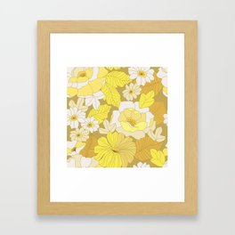 Yellow, Ivory & Brown Retro Flowers Framed Art Print