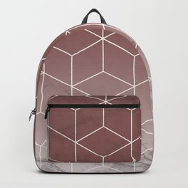 Geometric Cubes Deep Pink on Marble Backpack