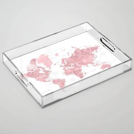 Light pink watercolor world map with cities, square Acrylic Tray