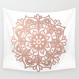 Rose Gold Mandala Redux Wall Tapestry
