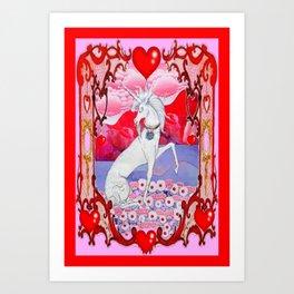 Unicorn Love Valentine in Pink & red Art Print