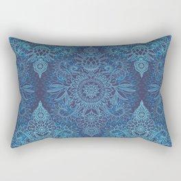 Aqua, Cobalt Blue & Purple Protea Doodle Pattern Rectangular Pillow
