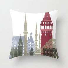 Istanbul skyline poster Throw Pillow