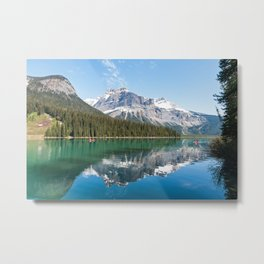 Canoe on Emerald Lake in Canadian Rocky Mountains Metal Print