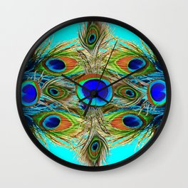 TURQUOISE  BLUE-GREEN PEACOCK EYE  FEATHERS Wall Clock