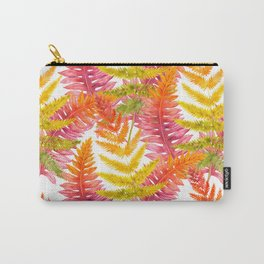 Hand painted pink orange watercolor fall fern floral Carry-All Pouch