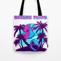 hotline miami Tote Bags featuring Hotline Miami  by noxioussomnium