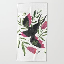 Swallow with Flowers Beach Towel