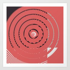 Red abstract geometrical Art Print