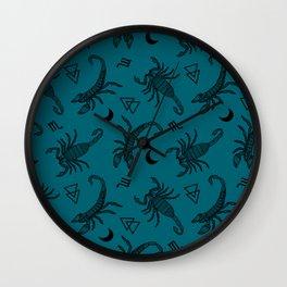 Scorpio Moon on Teal Wall Clock