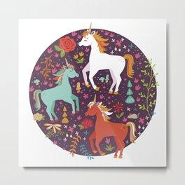 Colorful Unicorns in Evening Garden Metal Print