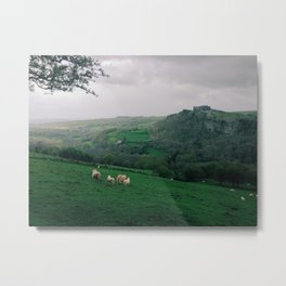 Castle Ruins Amongst Brecon Countryside Metal Print