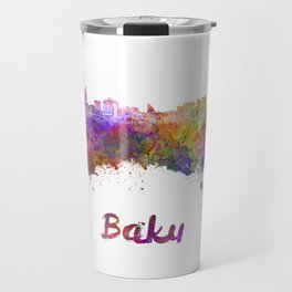 Baku skyline in watercolor Travel Mug