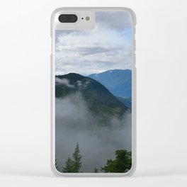 British Columbia morning in the mountains and fog Clear iPhone Case
