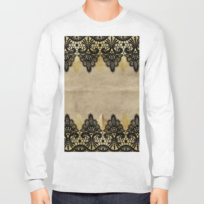 Elegance- Ornament black and gold lace on grunge paper backround Long Sleeve T-shirt