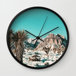 Vintage Lovers Cacti // Red Rock Canyon Mojave Nature Plants and Snow Desert in the Winter Wall Clock
