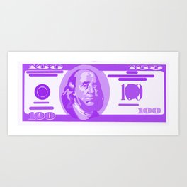 BIG PURPLE 100 DOLLAR BILL BEN FRANKLIN $$$ Art Print